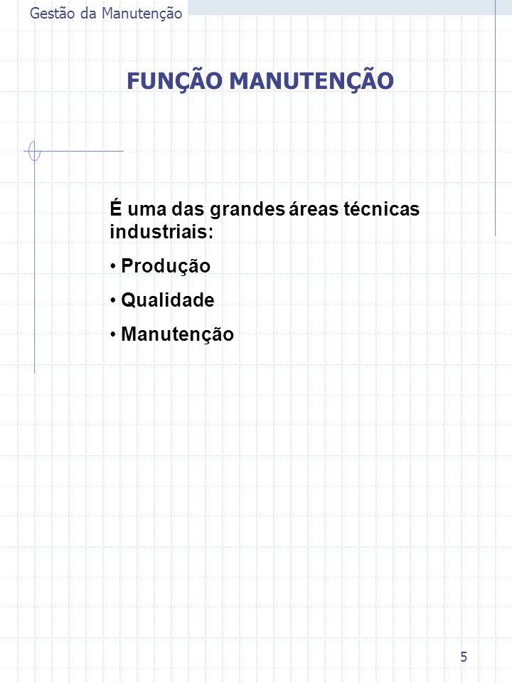 5 Gestão da Manutenção FUNÇÃO MANUTENÇÃO É uma das grandes áreas técnicas industriais: Produção Qualidade Manutenção