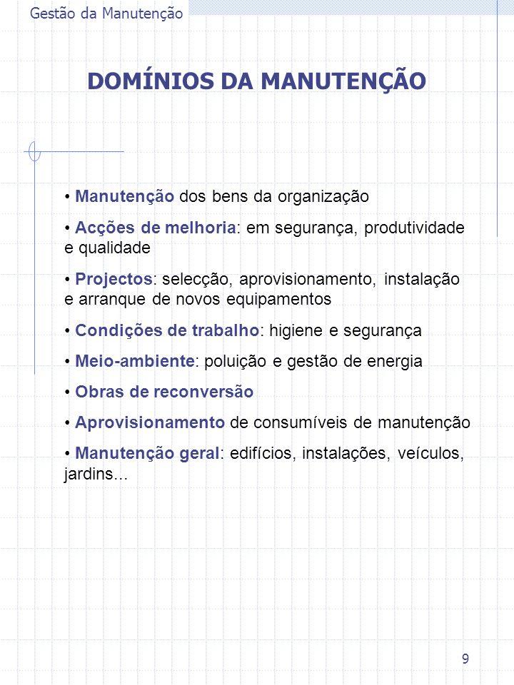 9 Gestão da Manutenção DOMÍNIOS DA MANUTENÇÃO Manutenção dos bens da organização Acções de melhoria: em segurança, produtividade e qualidade Projectos