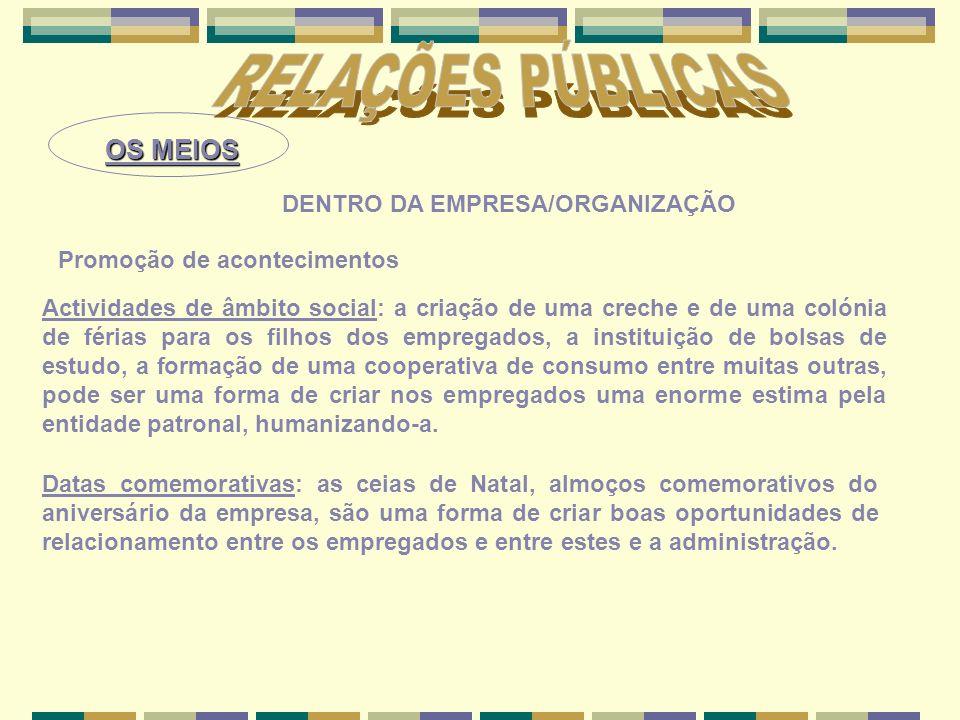 OS MEIOS DENTRO DA EMPRESA/ORGANIZAÇÃO Promoção de acontecimentos Datas comemorativas: as ceias de Natal, almoços comemorativos do aniversário da empr