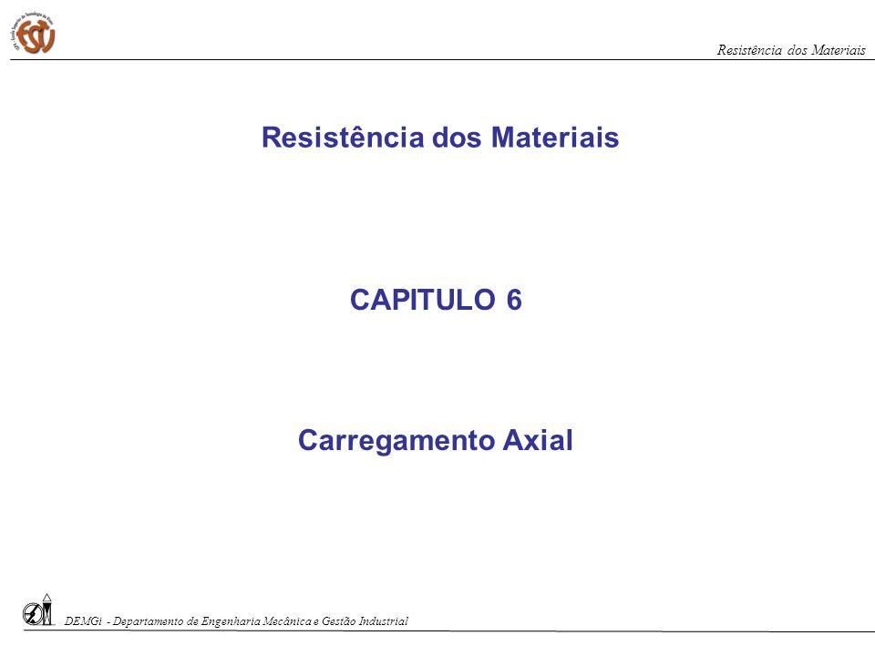 CAPITULO 6 Carregamento Axial Resistência dos Materiais DEMGi - Departamento de Engenharia Mecânica e Gestão Industrial Resistência dos Materiais