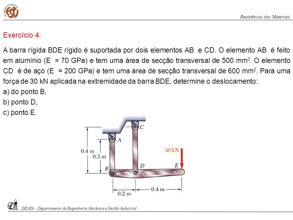 A barra rígida BDE rígido é suportada por dois elementos AB e CD. O elemento AB é feito em alumínio (E = 70 GPa) e tem uma área de secção transversal