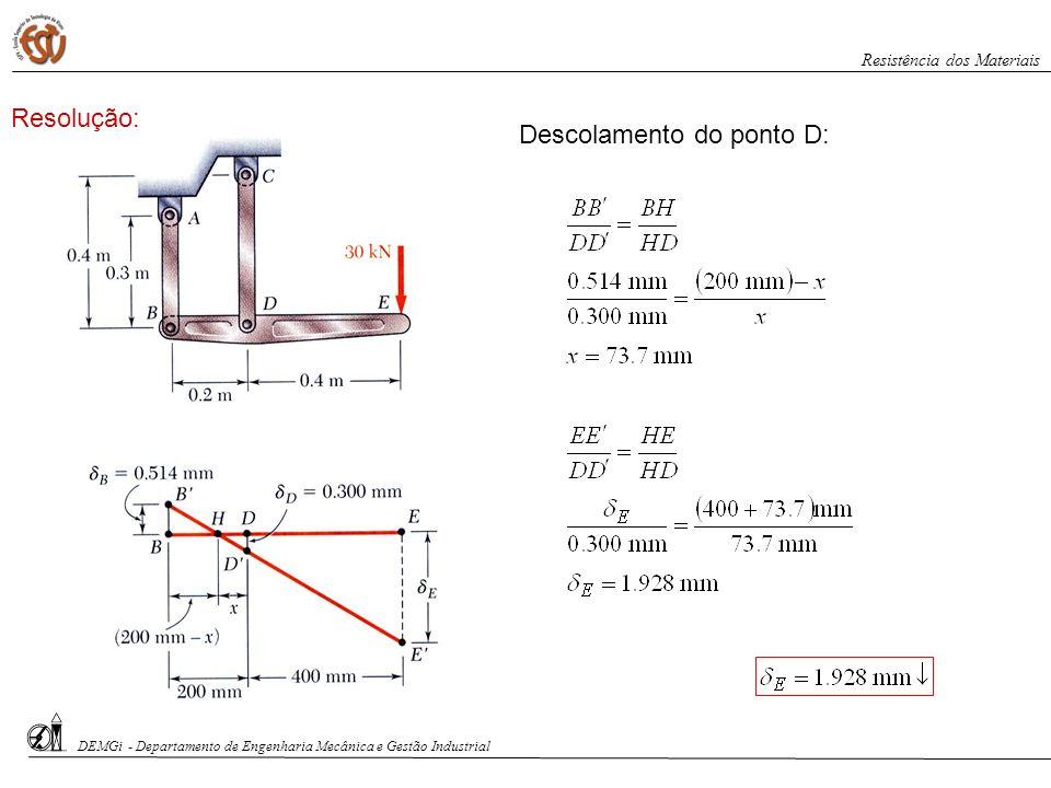 Descolamento do ponto D: DEMGi - Departamento de Engenharia Mecânica e Gestão Industrial Resistência dos Materiais Resolução: