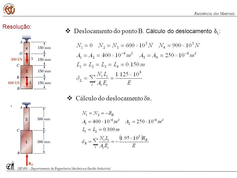 Cálculo do deslocamento R. Deslocamento do ponto B. Cálculo do deslocamento L : DEMGi - Departamento de Engenharia Mecânica e Gestão Industrial Resist