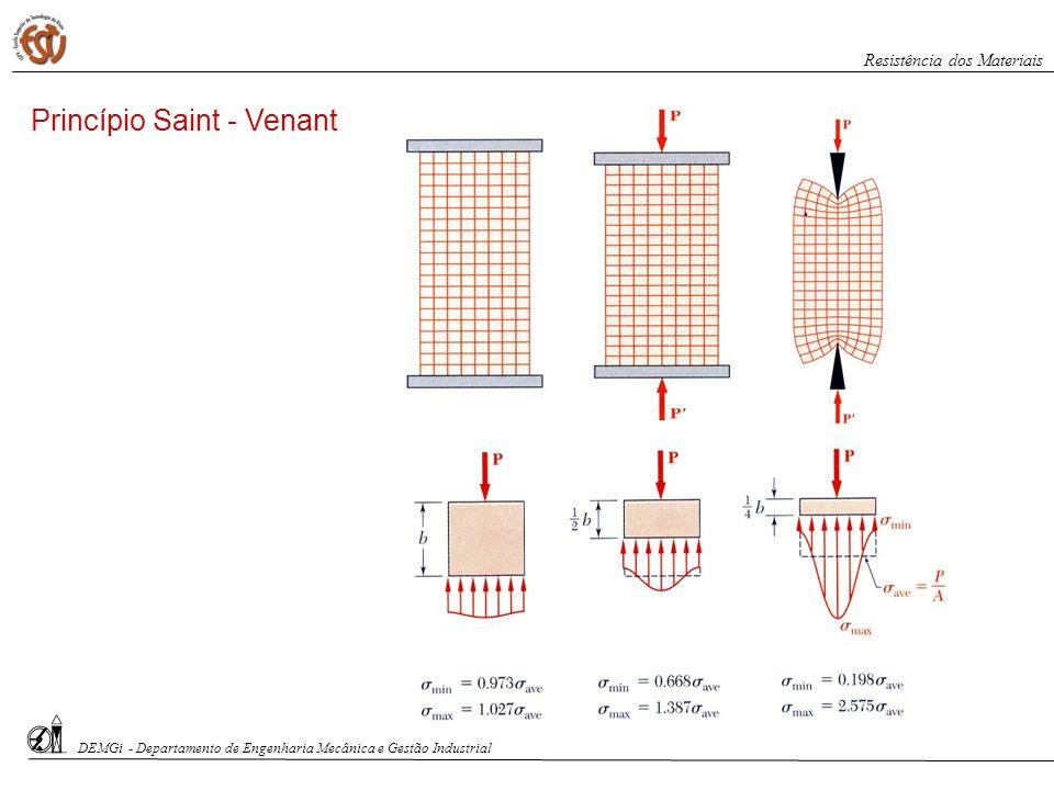 DEMGi - Departamento de Engenharia Mecânica e Gestão Industrial Resistência dos Materiais Exercício 1: A estrutura de aço (E=200 GPa, =0.32) representada na figura é composta por um elemento (1) com diâmetro D=25 mm e um elemento (2) com diâmetro d=15 mm, sendo carregada conforme indicado., determine: (a) O diagrama de esforços normais; (b) as tensões normais em cada um dos elementos; (c) o deslocamento do ponto D.