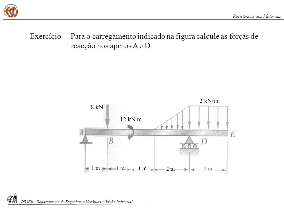 Exercício de aplicação: A viga homogénea mostrada na figura tem uma massa de 200 kg e destina-se ao transporte de cargas através da movimentação de um gancho.
