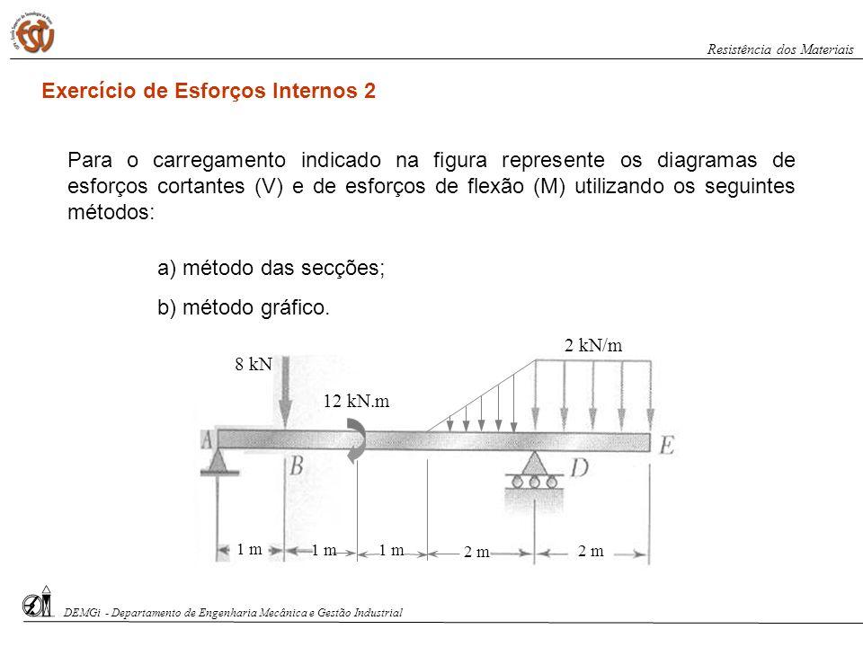 8 kN 12 kN.m 2 kN/m 1 m 2 m Exercício de Esforços Internos 2 Para o carregamento indicado na figura represente os diagramas de esforços cortantes (V)