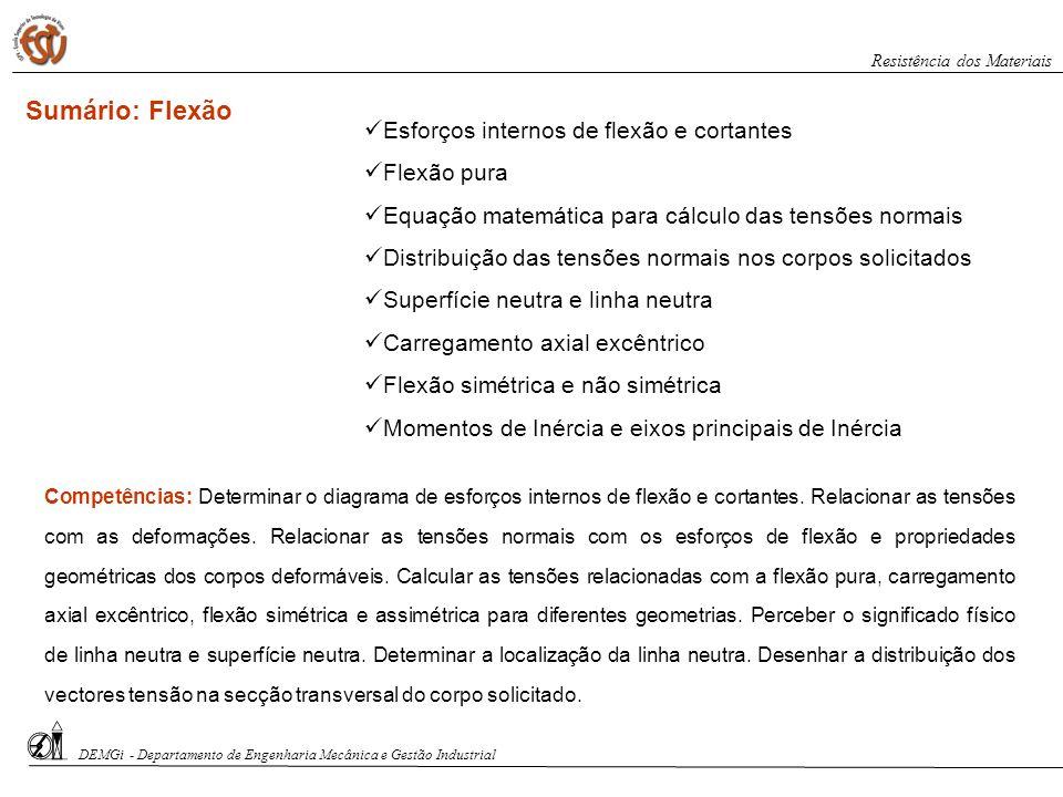 Sumário: Flexão Competências: Determinar o diagrama de esforços internos de flexão e cortantes. Relacionar as tensões com as deformações. Relacionar a