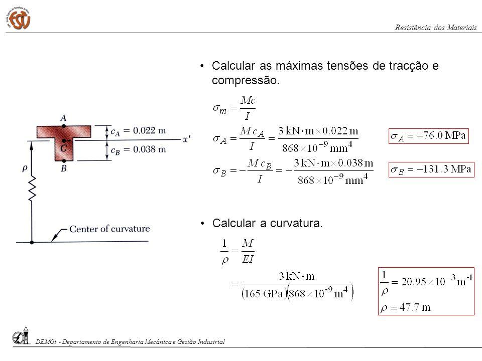Calcular as máximas tensões de tracção e compressão. Calcular a curvatura. DEMGi - Departamento de Engenharia Mecânica e Gestão Industrial Resistência