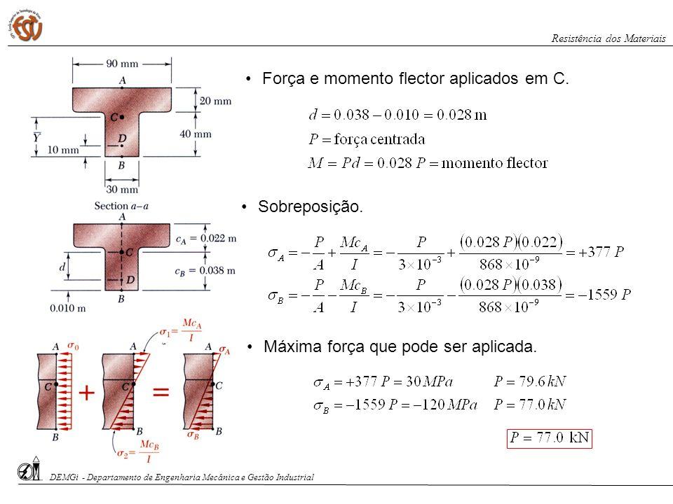 Força e momento flector aplicados em C. Máxima força que pode ser aplicada. Sobreposição. DEMGi - Departamento de Engenharia Mecânica e Gestão Industr