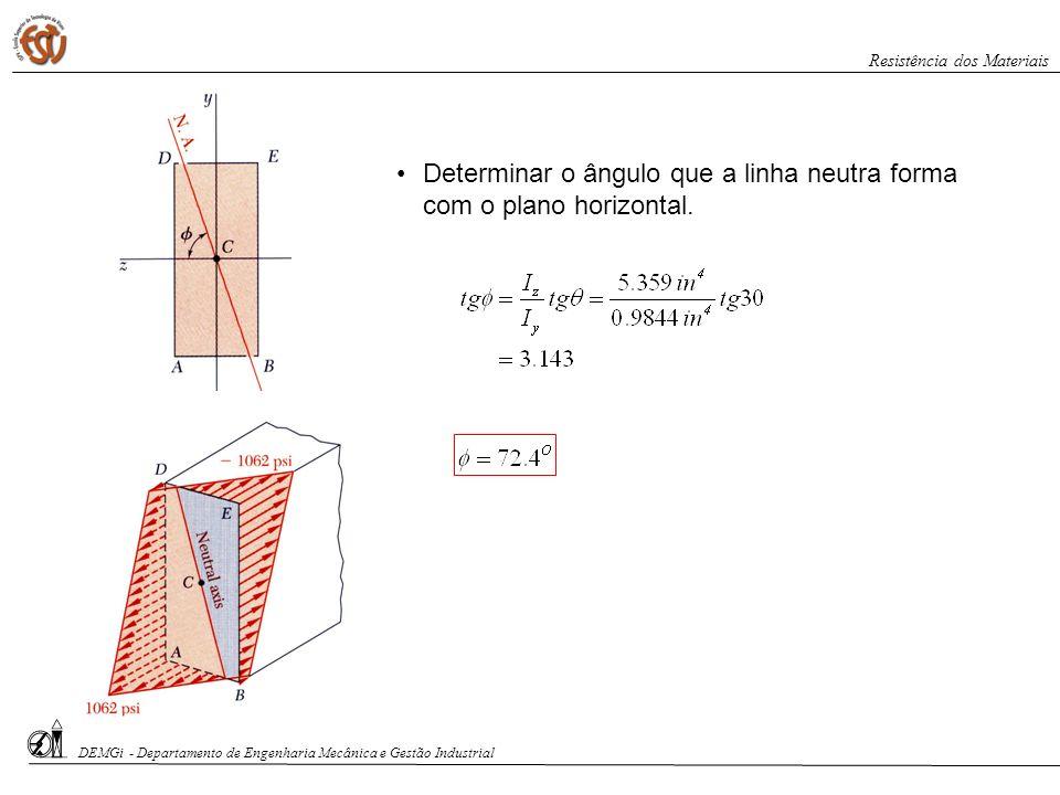 Determinar o ângulo que a linha neutra forma com o plano horizontal. DEMGi - Departamento de Engenharia Mecânica e Gestão Industrial Resistência dos M