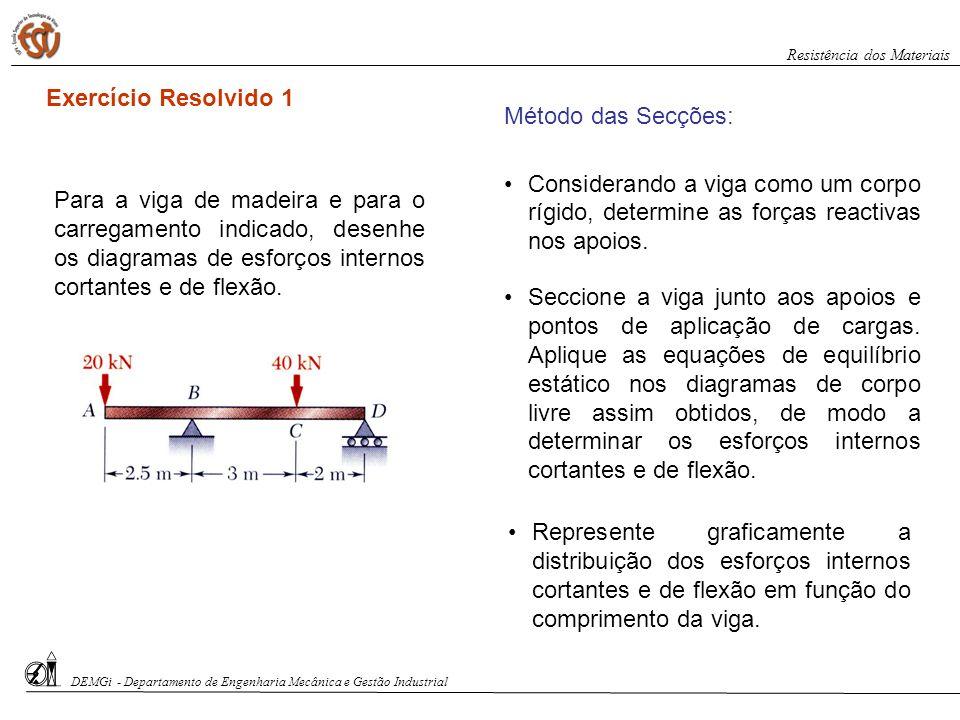 Para a viga de madeira e para o carregamento indicado, desenhe os diagramas de esforços internos cortantes e de flexão. Método das Secções: Consideran