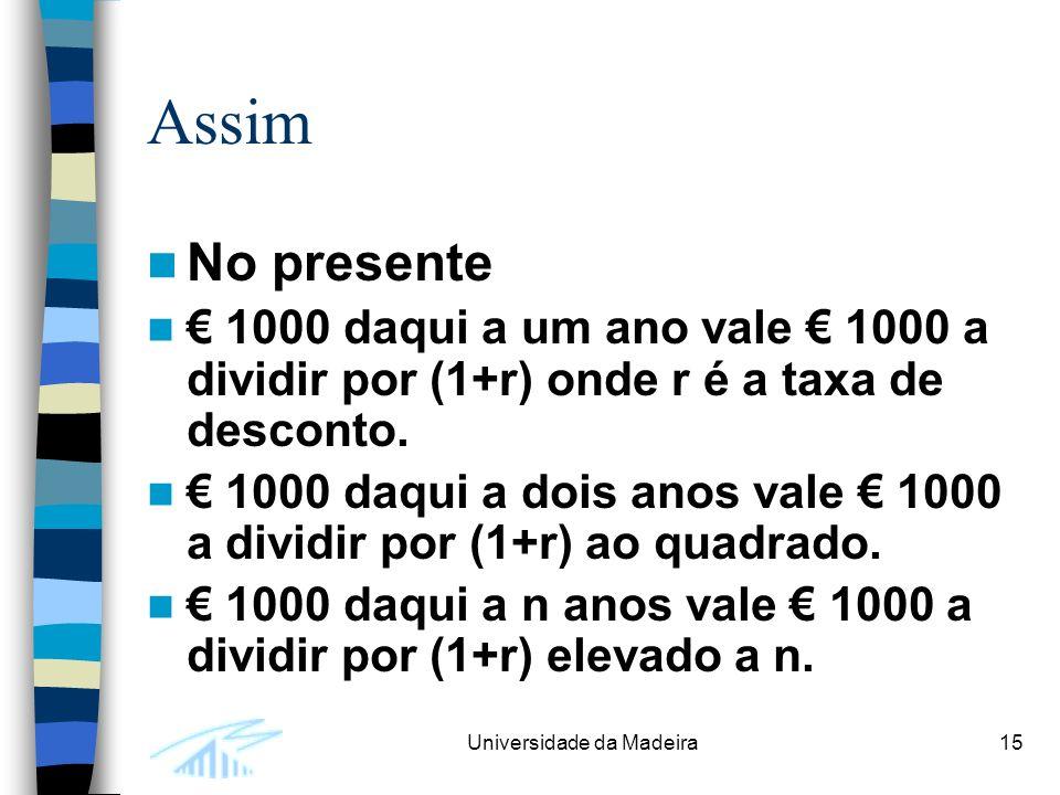 Universidade da Madeira15 Assim No presente 1000 daqui a um ano vale 1000 a dividir por (1+r) onde r é a taxa de desconto.