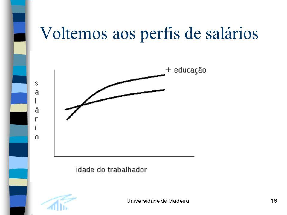 Universidade da Madeira16 Voltemos aos perfis de salários