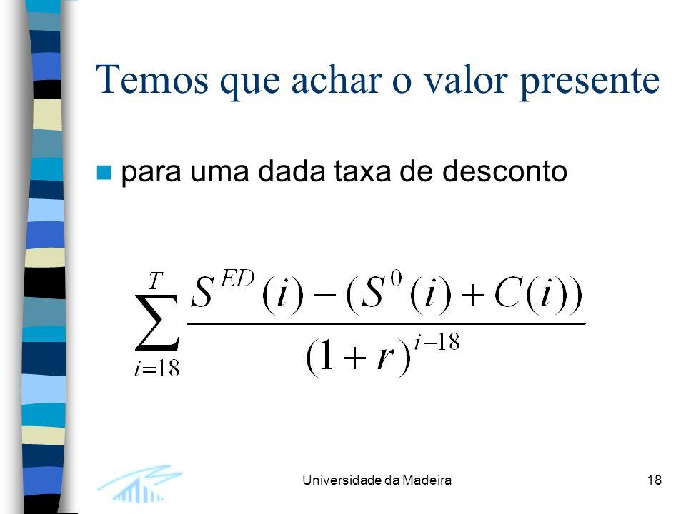 Universidade da Madeira18 Temos que achar o valor presente para uma dada taxa de desconto