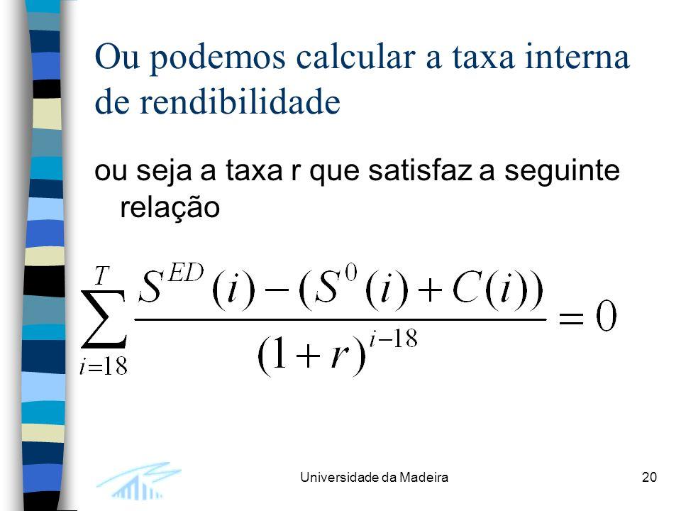 Universidade da Madeira20 Ou podemos calcular a taxa interna de rendibilidade ou seja a taxa r que satisfaz a seguinte relação