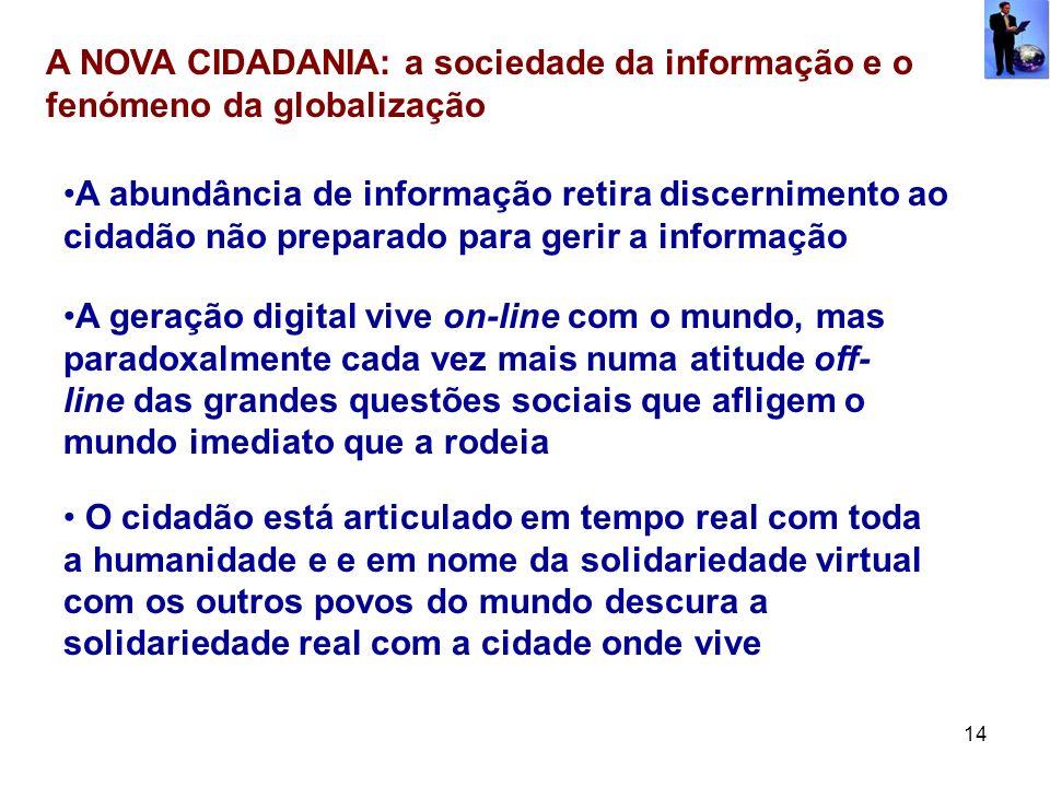 14 A NOVA CIDADANIA: a sociedade da informação e o fenómeno da globalização A abundância de informação retira discernimento ao cidadão não preparado p