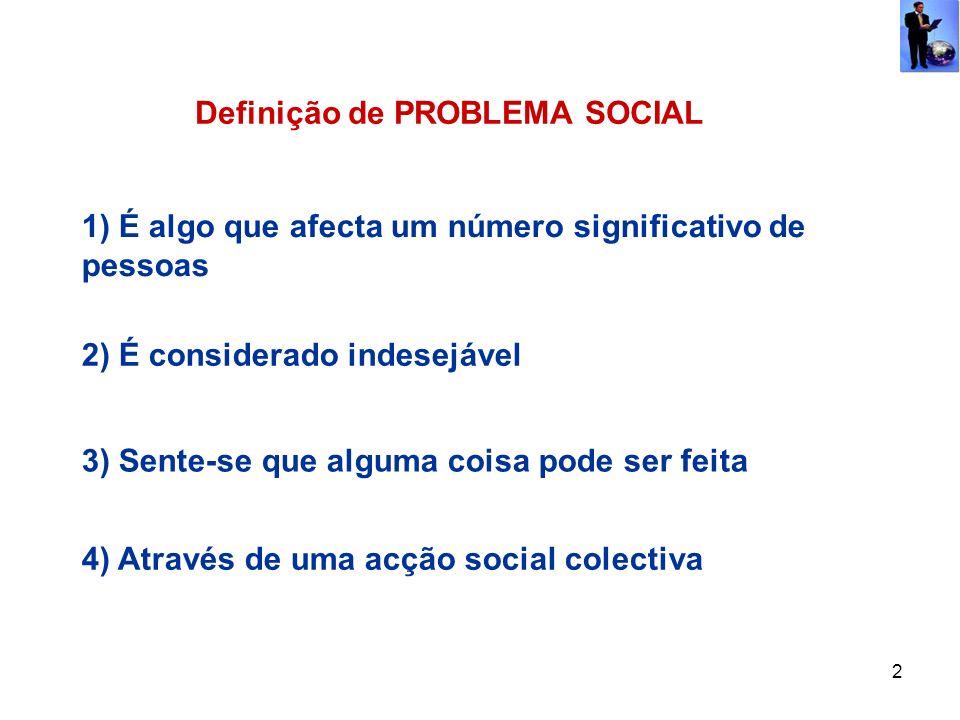 2 Definição de PROBLEMA SOCIAL 1) É algo que afecta um número significativo de pessoas 2) É considerado indesejável 3) Sente-se que alguma coisa pode