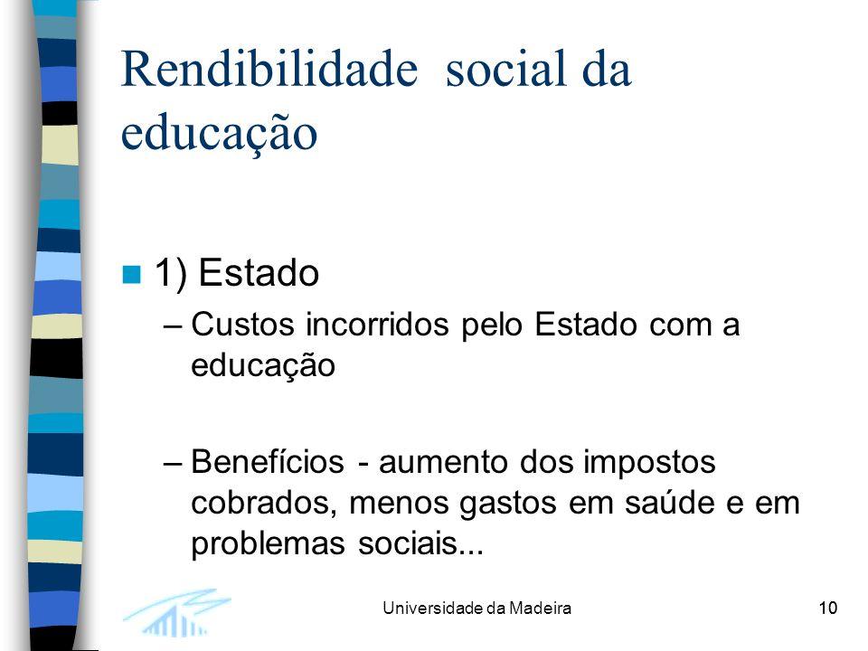10Universidade da Madeira10 Rendibilidade social da educação 1) Estado –Custos incorridos pelo Estado com a educação –Benefícios - aumento dos impostos cobrados, menos gastos em saúde e em problemas sociais...