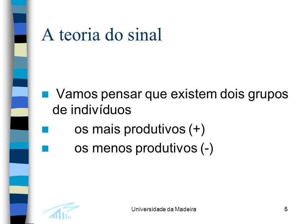 5Universidade da Madeira5 A teoria do sinal Vamos pensar que existem dois grupos de indivíduos os mais produtivos (+) os menos produtivos (-)