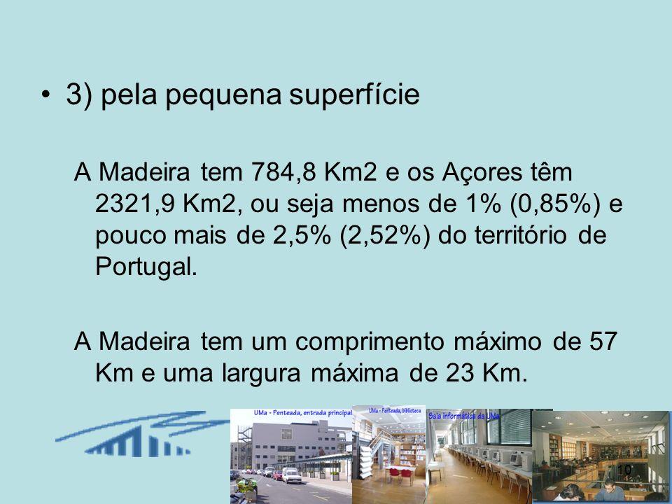 10 3) pela pequena superfície A Madeira tem 784,8 Km2 e os Açores têm 2321,9 Km2, ou seja menos de 1% (0,85%) e pouco mais de 2,5% (2,52%) do territór