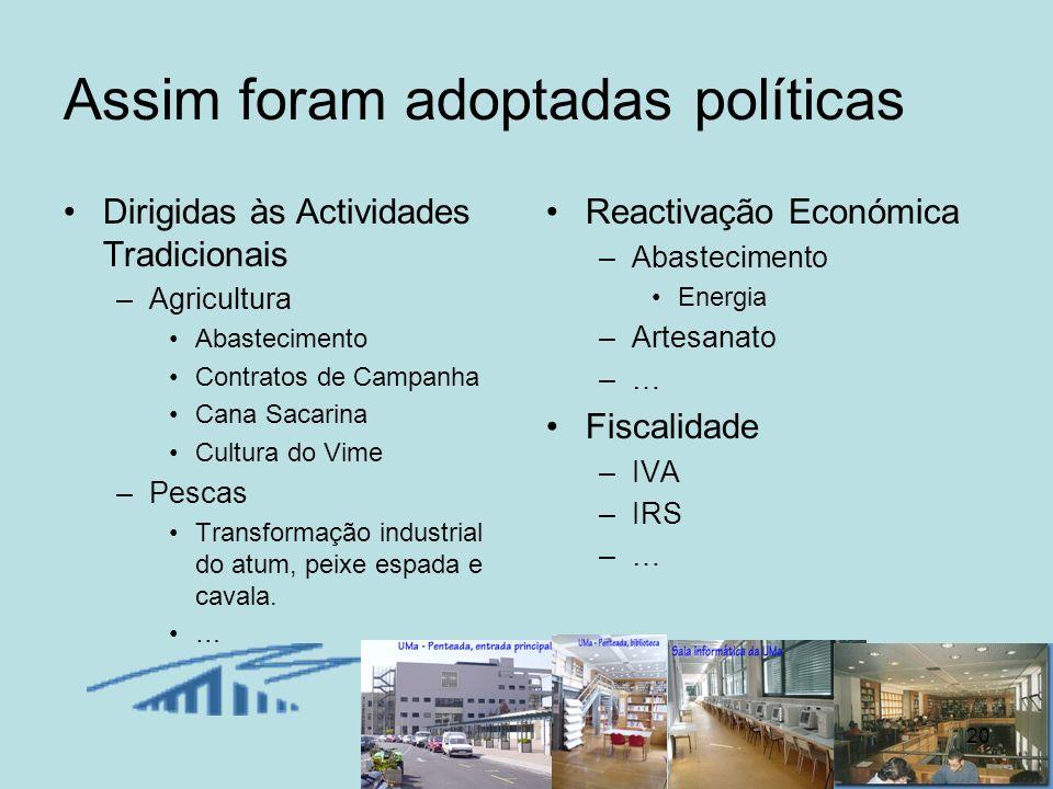 20 Assim foram adoptadas políticas Dirigidas às Actividades Tradicionais –Agricultura Abastecimento Contratos de Campanha Cana Sacarina Cultura do Vim