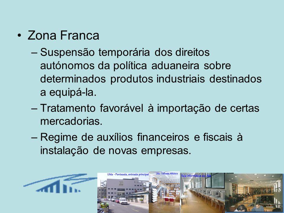 21 Zona Franca –Suspensão temporária dos direitos autónomos da política aduaneira sobre determinados produtos industriais destinados a equipá-la. –Tra
