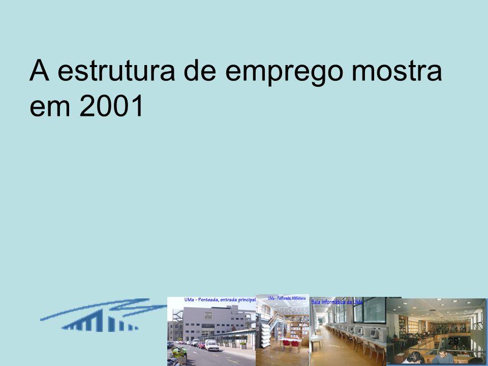 29 A estrutura de emprego mostra em 2001