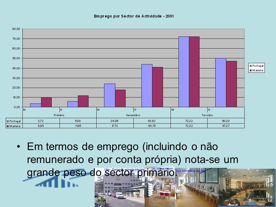 30 Em termos de emprego (incluindo o não remunerado e por conta própria) nota-se um grande peso do sector primário.