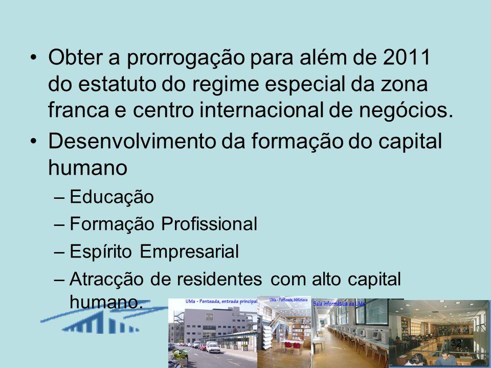 32 Obter a prorrogação para além de 2011 do estatuto do regime especial da zona franca e centro internacional de negócios. Desenvolvimento da formação