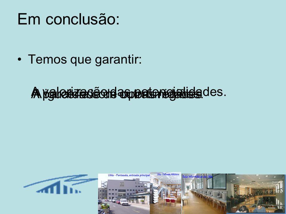 34 Em conclusão: Temos que garantir: A valorização das potencialidades. A parceria com outras regiões.A igualdade de oportunidades