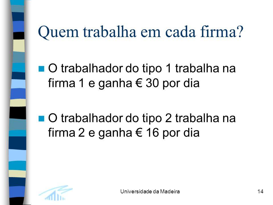 Universidade da Madeira14 Quem trabalha em cada firma.