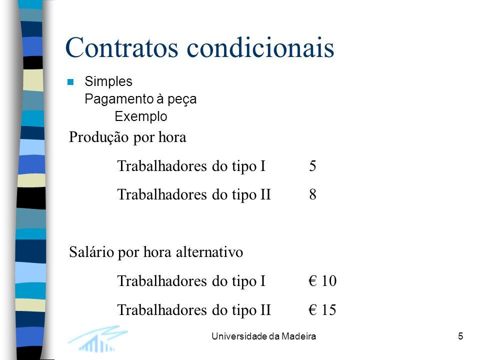 Universidade da Madeira5 Contratos condicionais Simples Pagamento à peça Exemplo Produção por hora Trabalhadores do tipo I5 Trabalhadores do tipo II8 Salário por hora alternativo Trabalhadores do tipo I 10 Trabalhadores do tipo II 15