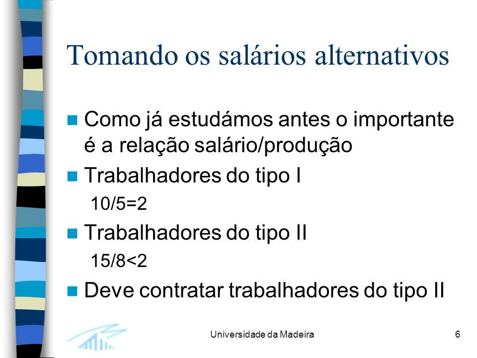 Universidade da Madeira6 Tomando os salários alternativos Como já estudámos antes o importante é a relação salário/produção Trabalhadores do tipo I 10/5=2 Trabalhadores do tipo II 15/8<2 Deve contratar trabalhadores do tipo II