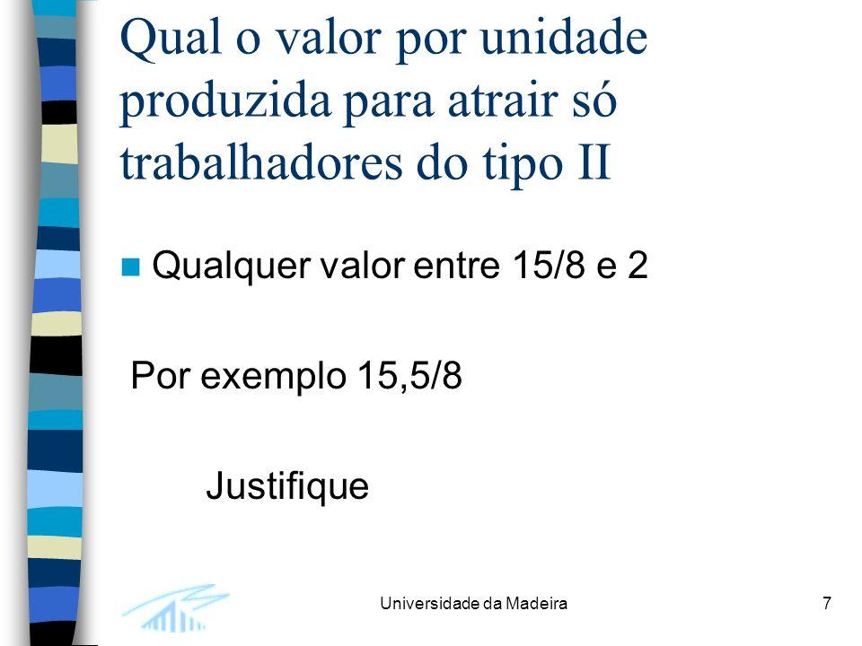 Universidade da Madeira7 Qual o valor por unidade produzida para atrair só trabalhadores do tipo II Qualquer valor entre 15/8 e 2 Por exemplo 15,5/8 Justifique