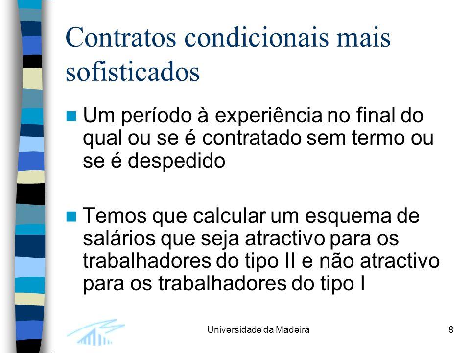 Universidade da Madeira8 Contratos condicionais mais sofisticados Um período à experiência no final do qual ou se é contratado sem termo ou se é despedido Temos que calcular um esquema de salários que seja atractivo para os trabalhadores do tipo II e não atractivo para os trabalhadores do tipo I