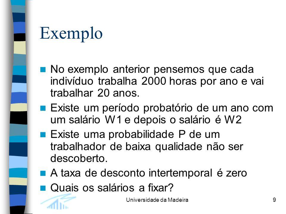 Universidade da Madeira9 Exemplo No exemplo anterior pensemos que cada indivíduo trabalha 2000 horas por ano e vai trabalhar 20 anos.