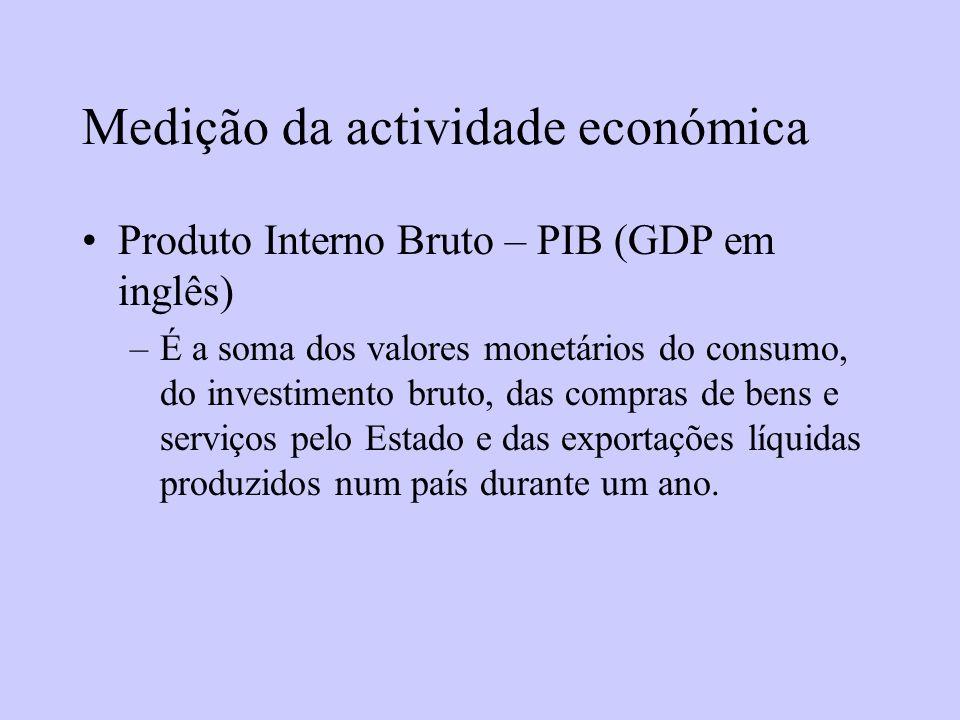 Medição da actividade económica Produto Interno Bruto – PIB (GDP em inglês) –É a soma dos valores monetários do consumo, do investimento bruto, das co