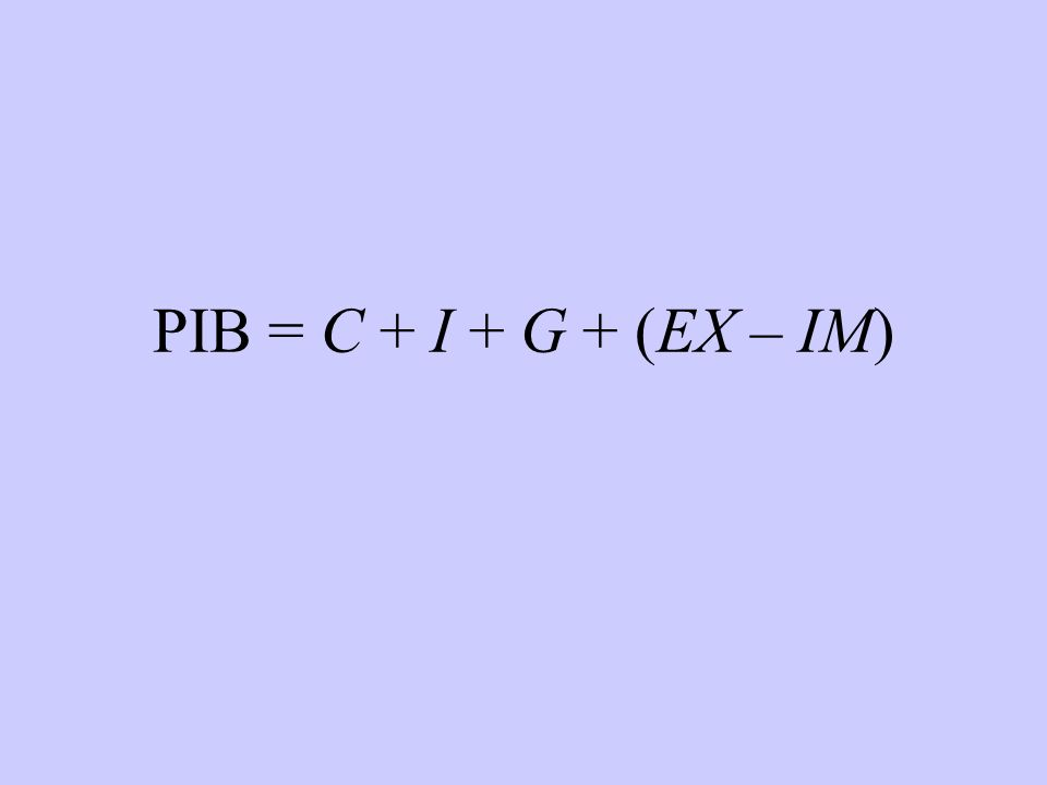 PIB = C + I + G + (EX – IM)