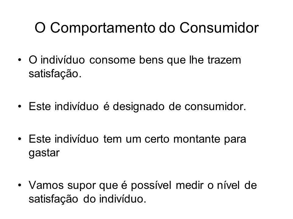 O Comportamento do Consumidor O indivíduo consome bens que lhe trazem satisfação. Este indivíduo é designado de consumidor. Este indivíduo tem um cert
