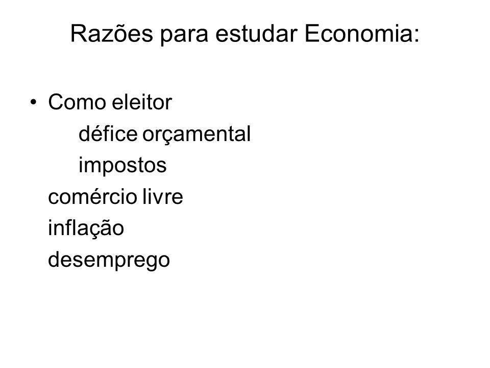 Razões para estudar Economia: Como eleitor défice orçamental impostos comércio livre inflação desemprego