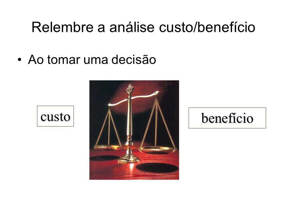 Relembre a análise custo/benefício Ao tomar uma decisão custo benefício