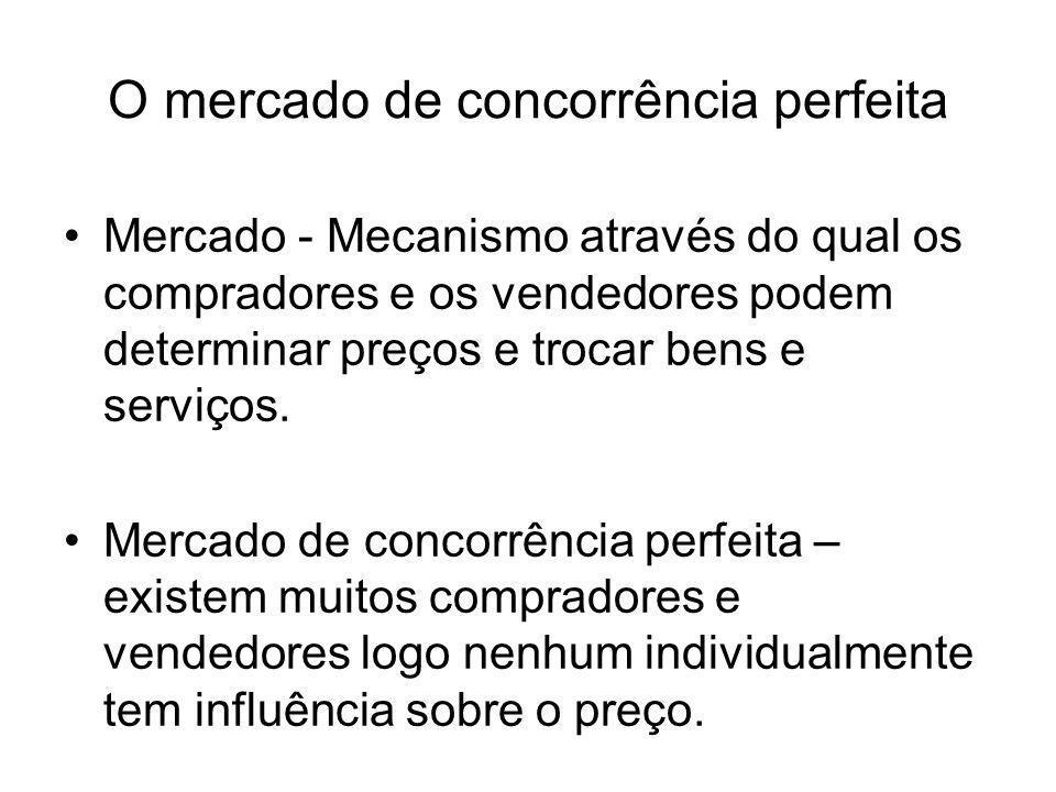 O mercado de concorrência perfeita Mercado - Mecanismo através do qual os compradores e os vendedores podem determinar preços e trocar bens e serviços
