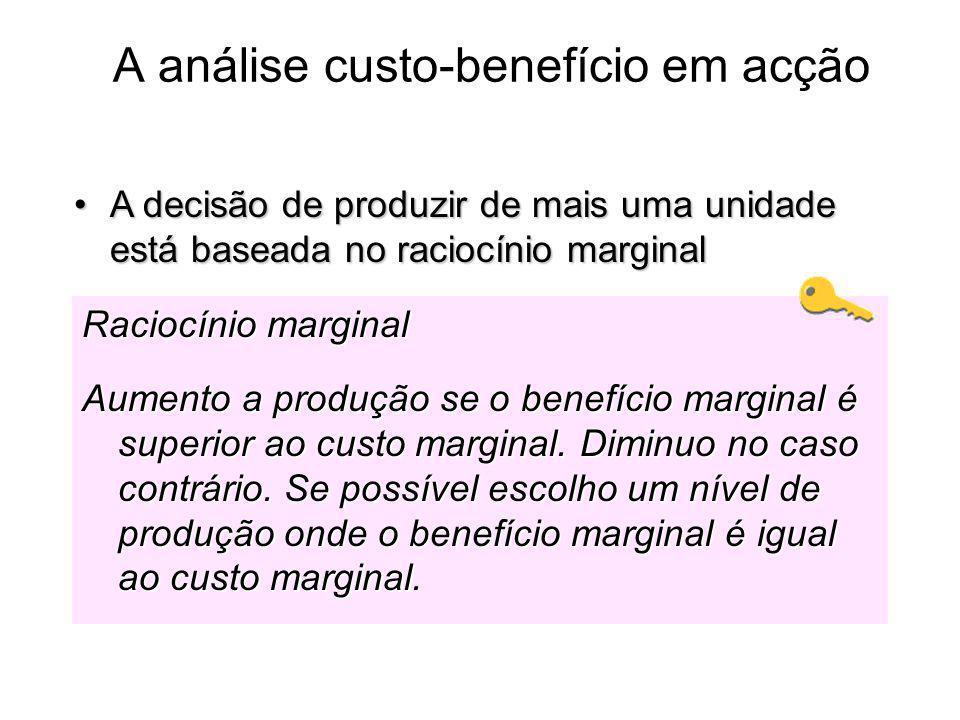 A análise custo-benefício em acção A decisão de produzir de mais uma unidade está baseada no raciocínio marginalA decisão de produzir de mais uma unid