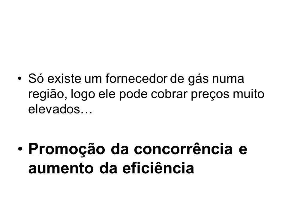 Só existe um fornecedor de gás numa região, logo ele pode cobrar preços muito elevados… Promoção da concorrência e aumento da eficiência