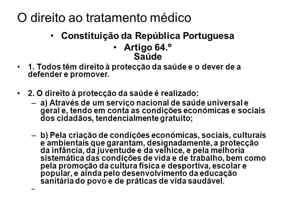 O direito ao tratamento médico Constituição da República Portuguesa Artigo 64.º Saúde 1. Todos têm direito à protecção da saúde e o dever de a defende