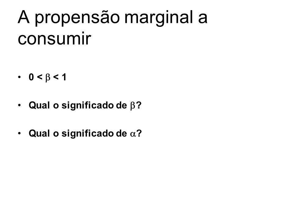 A propensão marginal a consumir 0 < < 1 Qual o significado de ?