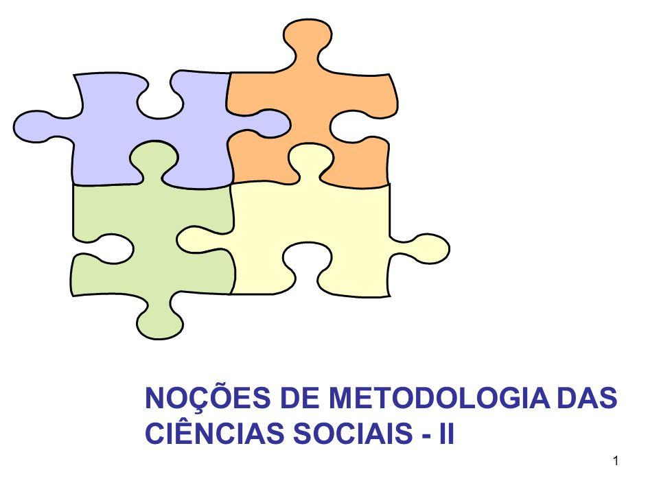 1 NOÇÕES DE METODOLOGIA DAS CIÊNCIAS SOCIAIS - II