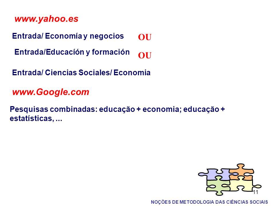 11 www.yahoo.es Entrada/ Economía y negocios OU Entrada/Educacíón y formación OU Entrada/ Ciencias Sociales/ Economia www.Google.com Pesquisas combina
