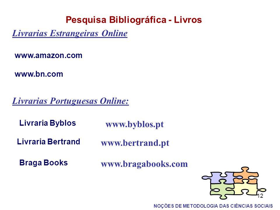 12 Pesquisa Bibliográfica - Livros Livrarias Estrangeiras Online www.amazon.com www.bn.com Livrarias Portuguesas Online: Livraria Byblos www.byblos.pt