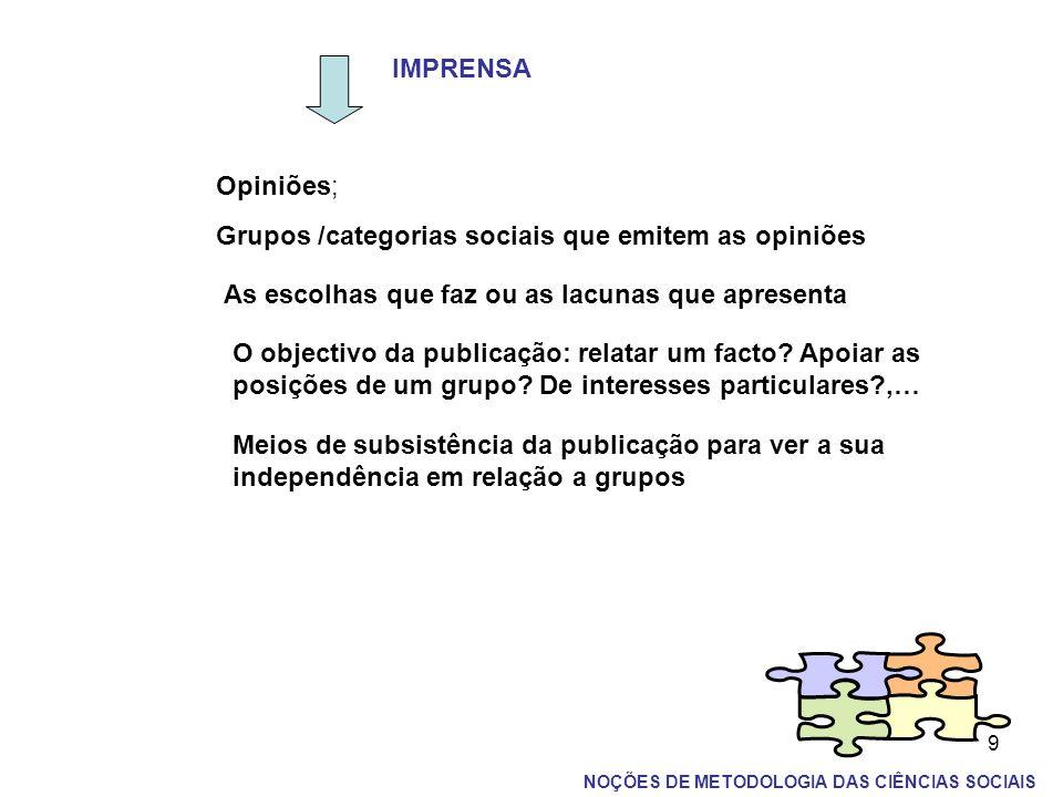 9 IMPRENSA Opiniões; Grupos /categorias sociais que emitem as opiniões As escolhas que faz ou as lacunas que apresenta O objectivo da publicação: rela